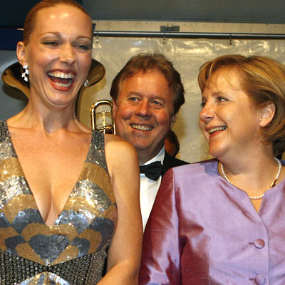 Katharina Wagner, Edward Randall and Angela Merkel at the premiere Meistersinger in Bayreuth 2077